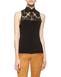 Alice Olivia Madyson Lace Neck Sleeveless Top