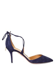 Aquazzura Matilde Crossover Tie Suede Pumps Navy