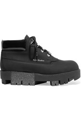 Acne Studios Tinnie Alu Patent Trimmed Brushed Leather Ankle Boots Black