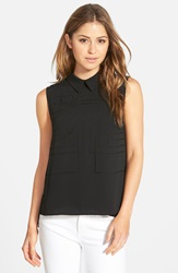 Adrianna Papell Laser Cut Sleeveless Blouse Black