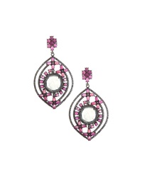 Bavna Rainbow Moonstone And Glass Ruby Drop Earrings