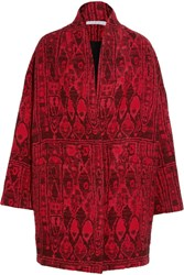 Iro Oversized Jacquard Coat Red