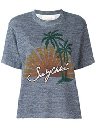See By Chloe Sunset Print T Shirt Blue