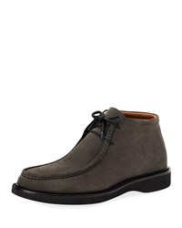 Aquatalia By Marvin K Kyle Suede Lace Up Chukka Boots Gray
