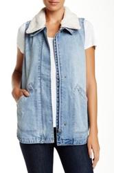 Jolt Faux Fur Collar Denim Vest Blue
