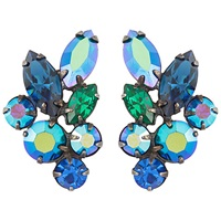 Susan Caplan Vintage 1950S Regency Swarovski Crystal Leaf Stud Earrings Green Blue