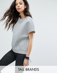 Noisy May Tall Structured Jersey Tee With Elastic Waist Grey