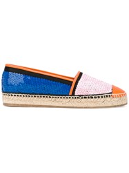 Emilio Pucci Sequin Espadrilles Women Cotton Raffia Calf Leather Rubber 38 Pink Purple