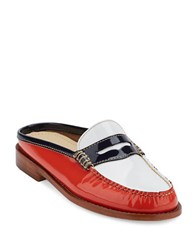 G.H. Bass Wynn Patent Leather Slide Loafers Poppy White