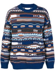 Laneus Pattern Long Sleeved Sweater Blue