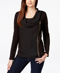 Inc International Concepts Cowl Neck Zipper Cardigan Only At Macy's Deep Black