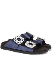 Roger Vivier Slidy Viv Satin Slides Blue