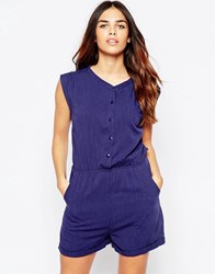 Wal G Romper With Button Front Denim