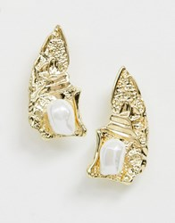 Pieces Abstract Pearl Earring Gold