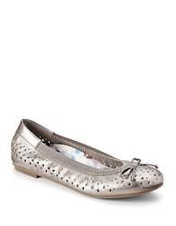 Vionic Surin Leather Perforated Ballet Flats Pewter