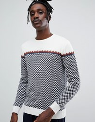 Antony Morato Knitted Jumper In Cream With Zigzag In Alpaca Blend