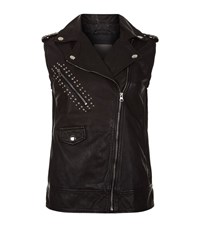 Pinko Sleeveless Leather Jacket Female Black