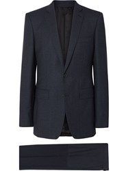 Burberry English Fit Sharkskin Wool Suit Blue