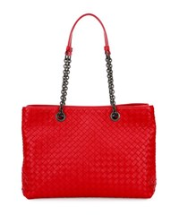 Bottega Veneta Intrecciato Medium Double Chain Tote Bag Red