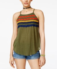 Almost Famous Juniors' Crochet Trim Babydoll Tank Top Olive