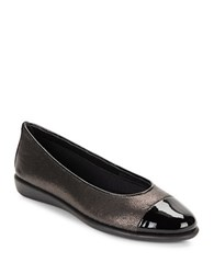 The Flexx Rise A Smile 2 Cap Toe Quilted Leather Flats Grey