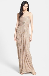 Adrianna Papell Foiled Dot Draped Mesh Dress Tan