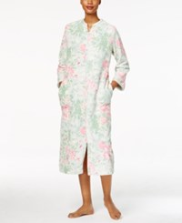 Miss Elaine Plush Zip Front Long Robe Pink Sage
