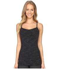 Lucy Yoga Siren Racerback Black Spacedye Stripe Women's Sleeveless