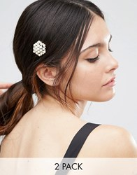 Asos Pack Of 2 Occasion Faux Pearl Hair Clips Cream