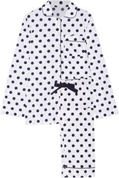 Three J Nyc Jamie Polka Dot Cotton Poplin Pajama Set White