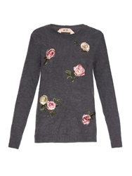 No.21 Rose Embroidered Angora Blend Sweater