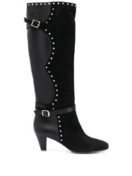 Via Roma 15 Stud Detail Knee Length Boots Black