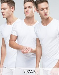 Tommy Hilfiger Stretch Crew Neck T Shirts In 3 Pack In Regular Fit White