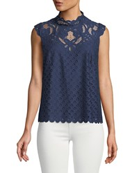 Laundry By Shelli Segal Mock Neck Lace Illusion Tank Midnight