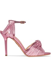 Charlotte Olympia Broadway Metallic Leather Sandals Pink
