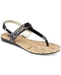 G By Guess Jossy T Strap Demi Wedge Sandals Women's Shoes Black Patent