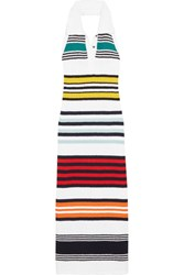Rosie Assoulin Striped Cotton Halterneck Maxi Dress White