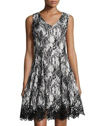 Chetta B Bonded Lace Fit And Flare Sleeveless Dress Black White