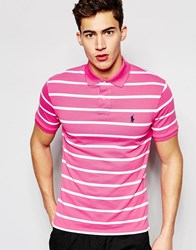 Polo Ralph Lauren Polo Shirt With Breton Stripe In Pink Pink