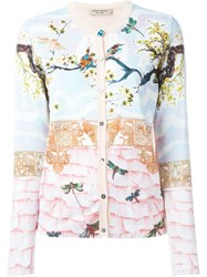 Piccione.Piccione Piccione. Piccione Balcony Print Contrast Trim Button Down Cardigan Pink And Purple