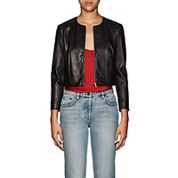 The Row Stanta Crop Leather Jacket Black
