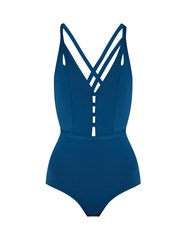 Ephemera Crossed Double Strap Swimsuit Blue