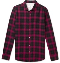 Officine Generale Checked Cotton Blend Shirt Red