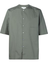 Christophe Lemaire Lemaire Collarless Shirt Green