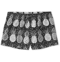Dolce And Gabbana Mid Length Pineapple Print Swim Shorts White