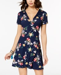 One Clothing Juniors' Side Tie Wrap Dress Navy Floral
