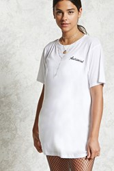 Forever 21 Antisocial T Shirt Dress White Black