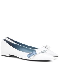 Prada Leather Bow Flats White