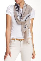 Cara Accessories Skull And Feather Print Scarf Beige