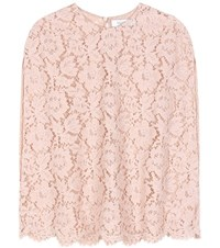 Valentino Cotton Blend Lace Top Pink